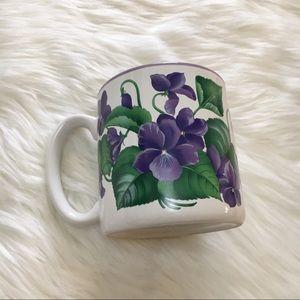 Vintage 1991 90s Purple Violets Flowers Coffee Mug